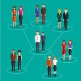 Κοινωνικές δικτύων πληροφορίες επικοινωνίας ανθρώπων μέσων σφαιρικές που μοιράζονται το επίπεδο διάνυσμα έννοιας Ιστού infographi Στοκ φωτογραφίες με δικαίωμα ελεύθερης χρήσης