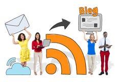 Κοινωνικές δικτύωση ανθρώπων και έννοια Blog Στοκ εικόνα με δικαίωμα ελεύθερης χρήσης