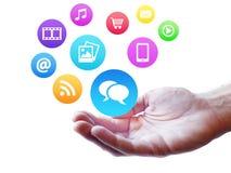 Κοινωνικές μέσα Webdesign και έννοια Διαδικτύου Στοκ Εικόνα