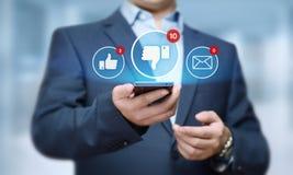 Κοινωνική έννοια επιχειρησιακών δικτύων Ίντερνετ ανατροφοδότησης κουμπιών απέχθειας Στοκ Εικόνα