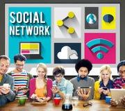 Κοινωνική έννοια δικτύωσης παγκόσμιων επικοινωνιών δικτύων Στοκ εικόνα με δικαίωμα ελεύθερης χρήσης