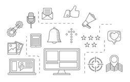 Κοινωνική έννοια μέσων Θέμα επικοινωνίας Διαδικτύου Στοκ εικόνα με δικαίωμα ελεύθερης χρήσης