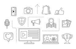 Κοινωνική έννοια μέσων Θέμα επικοινωνίας Διαδικτύου Στοκ Εικόνα