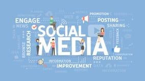 Κοινωνική έννοια μέσων διανυσματική απεικόνιση