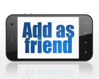 Κοινωνική έννοια μέσων: Smartphone με Add ως φίλο στην επίδειξη Στοκ φωτογραφίες με δικαίωμα ελεύθερης χρήσης