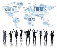 Κοινωνική έννοια ύφους ιδεών μάρκετινγκ παγκόσμιων χαρτών τάσεων διανυσματική απεικόνιση