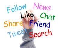 Κοινωνική έννοια Whiteboard μέσων με το σχέδιο χεριών επιχειρηματιών στοκ φωτογραφίες