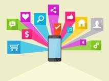Κοινωνική απεικόνιση εικονιδίων μέσων διανυσματική Στοκ Εικόνα