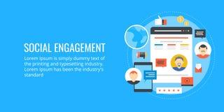 Κοινωνική δέσμευση - influencer εμπορικός - κοινωνική δικτύωση Επίπεδο διανυσματικό έμβλημα σχεδίου διανυσματική απεικόνιση
