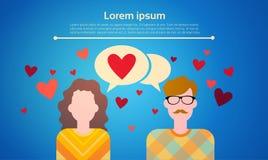 Κοινωνική επικοινωνία δικτύων φυσαλίδων συνομιλίας αγάπης ζεύγους διακοπών καρτών δώρων ημέρας βαλεντίνων Στοκ Φωτογραφία