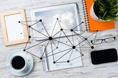 Κοινωνική επικοινωνία και σφαιρική έννοια δικτύωσης στοκ εικόνες