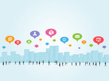 Κοινωνική επιχειρησιακή επικοινωνία απεικόνιση αποθεμάτων