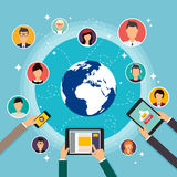 Κοινωνική διανυσματική έννοια δικτύων Επίπεδη απεικόνιση σχεδίου για τον Ιστό Στοκ Φωτογραφίες
