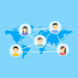 Κοινωνική διανυσματική έννοια δικτύων Επίπεδη απεικόνιση σχεδίου για το σχέδιο Infographic ιστοχώρων Γήινος γεωμετρικός χάρτης Κι διανυσματική απεικόνιση