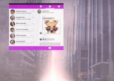 Κοινωνική διεπαφή MEDIA App στην πόλη Στοκ Εικόνες