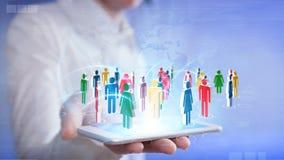 Κοινωνική δικτύωση με το smartphone Στοκ Εικόνα