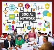Κοινωνική σε απευθείας σύνδεση κοινωνία Διαδικτύου δικτύων που συνδέει τα κοινωνικά μέσα Γ Στοκ Εικόνα