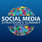 Κοινωνική Σύνοδος Κορυφής Σαν Φρανσίσκο 2019 στρατηγικών μέσων Στρατηγική επικοινωνίας και προώθησης με τα κοινωνικά μέσα απεικόνιση αποθεμάτων