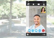 Κοινωνική τηλεοπτική App συνομιλίας διεπαφή Στοκ Φωτογραφίες