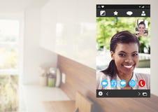 Κοινωνική τηλεοπτική App συνομιλίας διεπαφή Στοκ φωτογραφία με δικαίωμα ελεύθερης χρήσης