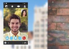 Κοινωνική τηλεοπτική App συνομιλίας διεπαφή Στοκ Εικόνες