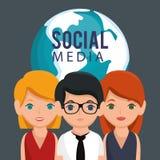 Κοινωνικοί κοινοτικοί χαρακτήρες μέσων Στοκ Φωτογραφία
