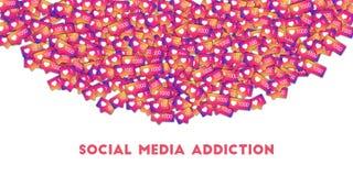 Κοινωνικός εθισμός μέσων Κοινωνικά εικονίδια μέσων στο αφηρημένο υπόβαθρο μορφής με το μετρητή κλίσης στοκ φωτογραφία