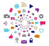 Κοινωνικός κύκλος τεχνολογίας και κινήσεων μέσων στα φωτεινά χρώματα Στοκ Εικόνα