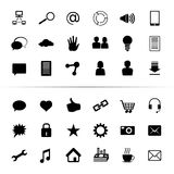 Κοινωνικός μαύρος μονοχρωματικός κουμπιών εικονιδίων μέσων Στοκ Φωτογραφία