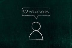 Κοινωνικός οπαδός Influencers ` μέσων με το ομοειδές εικονίδιο στοκ φωτογραφία