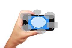 Κοινωνικό έξυπνο τηλέφωνο έννοιας μέσων με το χέρι Στοκ Φωτογραφία