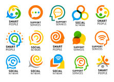 Κοινωνικό δίκτυο για τους έξυπνους ανθρώπους με το δημιουργικό εγκέφαλο Σύνολο εικονιδίων υπηρεσιών υποστήριξης Ζωηρόχρωμη διανυσ στοκ εικόνα
