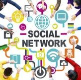 Κοινωνικό δίκτυο επικοινωνίας σύνδεσης συνεδρίασης των επιχειρηματιών Στοκ εικόνες με δικαίωμα ελεύθερης χρήσης