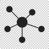Κοινωνικό δίκτυο, μόριο, εικονίδιο DNA στο επίπεδο ύφος Διάνυσμα illustr Στοκ Φωτογραφία