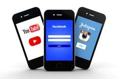 Κοινωνικό δίκτυο στα smartphones Στοκ φωτογραφία με δικαίωμα ελεύθερης χρήσης