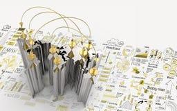 Κοινωνικό δίκτυο τρισδιάστατο στον παγκόσμιο χάρτη και σχεδιαζόμενη τη χέρι επιχειρησιακή στρατηγική απεικόνιση αποθεμάτων