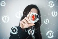 Κοινωνικό δίκτυο στη φουτουριστική οθόνη στοκ φωτογραφία με δικαίωμα ελεύθερης χρήσης