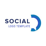 Κοινωνικό λογότυπο Διανυσματικό πρότυπο σχεδίου λογότυπων συνομιλίας Αφηρημένο μπλε χρώμα logotypewith επικοινωνίας διανυσματικό Στοκ Εικόνα