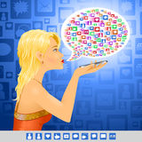 Κοινωνικό μήνυμα σημαδιών κοριτσιών MEDIA ελεύθερη απεικόνιση δικαιώματος