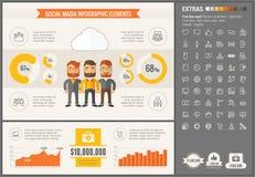 Κοινωνικό πρότυπο Infographic σχεδίου MEDIA επίπεδο Στοκ Εικόνες