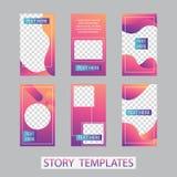Κοινωνικό σχέδιο ιστοριών δικτύων, κάθετα έμβλημα ή πρότυπα ιπτάμενων Σύνολο minimalistic ιστοριών για τα κοινωνικά μέσα στοκ εικόνα