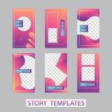 Κοινωνικό σχέδιο ιστοριών δικτύων, κάθετα έμβλημα ή πρότυπα ιπτάμενων Σύνολο minimalistic ιστοριών για τα κοινωνικά μέσα στοκ φωτογραφίες