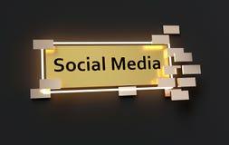 Κοινωνικό σύγχρονο χρυσό σημάδι MEDIA ελεύθερη απεικόνιση δικαιώματος