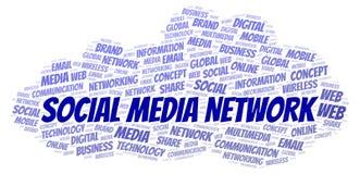 Κοινωνικό σύννεφο λέξης δικτύων MEDIA ελεύθερη απεικόνιση δικαιώματος