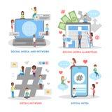 Κοινωνικό σύνολο εμβλημάτων Ιστού μέσων μάρκετινγκ διαφήμισης διανυσματική απεικόνιση