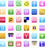 Κοινωνικό σύνολο εικονιδίων μέσων Στοκ εικόνα με δικαίωμα ελεύθερης χρήσης
