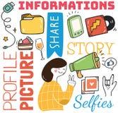 Κοινωνικό υπόβαθρο μέσων στη διανυσματική απεικόνιση ύφους doodle ελεύθερη απεικόνιση δικαιώματος