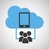 Κοινωνικό smartphone μέσων σύνδεσης σύννεφων Στοκ Εικόνα