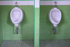 Κοινό ατόμων ουροδοχείων στο πράσινο δωμάτιο τουαλετών Στοκ φωτογραφίες με δικαίωμα ελεύθερης χρήσης