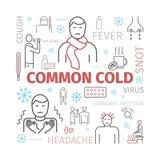 Κοινό κρύο Εποχή γρίπης Συμπτώματα, επεξεργασία Εικονίδια γραμμών καθορισμένα Διανυσματικά σημάδια για τη γραφική παράσταση Ιστού διανυσματική απεικόνιση